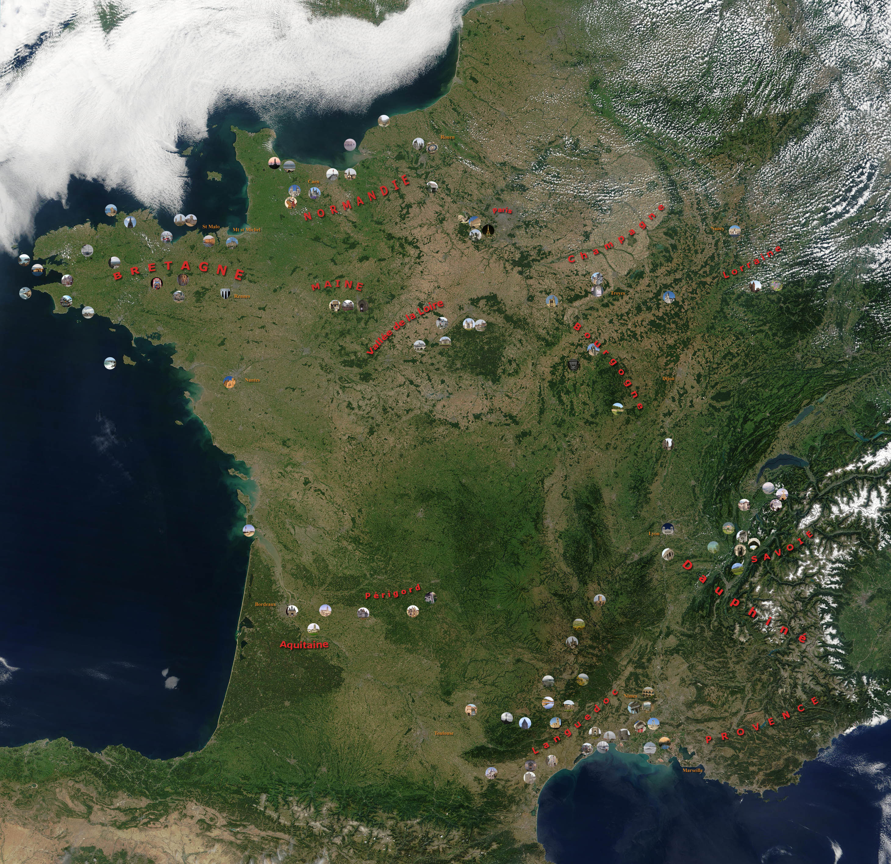 carte vue du ciel France vue du ciel