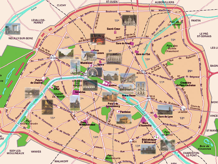 Tour in Paris – Map of Paris with Monuments